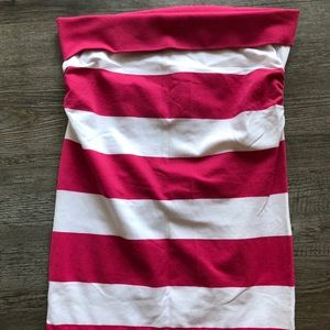 Blu Chic Pink and White Ruched Tube Top